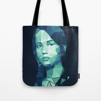 katniss Tote Bags featuring Katniss Everdeen by Dr.Söd