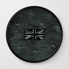 British Flag: Black Camouflage Wall Clock
