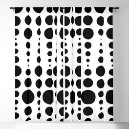 Drippy, Moving Polka Dots in Black on White Blackout Curtain