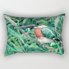 Green Kingfishers and Green Grass Rectangular Pillow