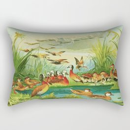 Amazonian birds by Göldi & Emil August 1859-1917 Belem Brazil Colorful Tropical Birds Ducks Rectangular Pillow