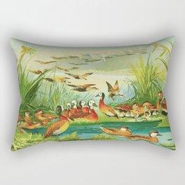 Amazonian birds by Göldi & Emil August 1859-1917 Belem Brazil Colorful Tropical Birds Ducks Rectangular Pillow