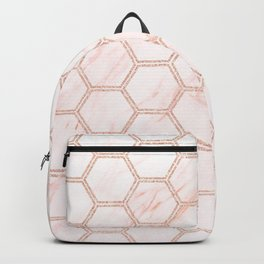 rose gold hexagon pattern on pink marble Backpack