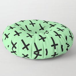 Black and Green Inverted Cross Pattern Floor Pillow