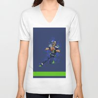 seahawks V-neck T-shirts featuring Russell Wilson QB 3 Seattle Seahawks by Akyanyme
