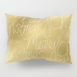 Merry christmas- christmas typography on gold pattern Pillow Sham