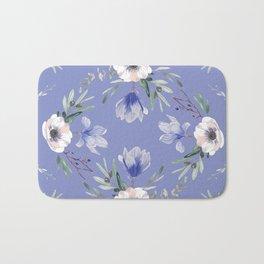 Floral Square Blue Bath Mat