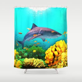 Shark in the water Shower Curtain