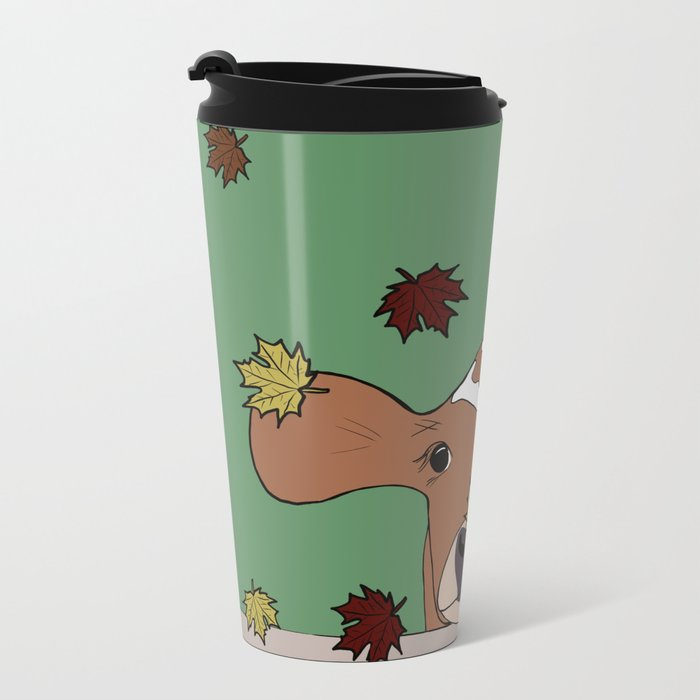 Bessie the Calf and Fall Leaves Metal Travel Mug