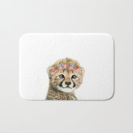 Baby cheetah animal with flower crown Bath Mat