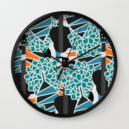 Guitars, flowers and leaves Wall Clock