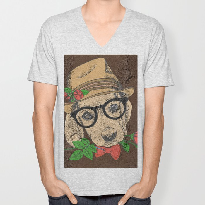 Cute Hipster Pup Unisex V-Neck