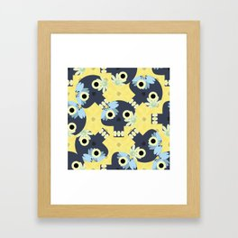 Cute pattern with funny skulls and yellow flowers Framed Art Print