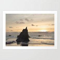 Arcadia Beach Sunset Lion Rock Oregon Coast Pacific Ocean Art Print