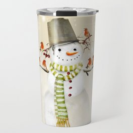 Snowman and Birds Travel Mug