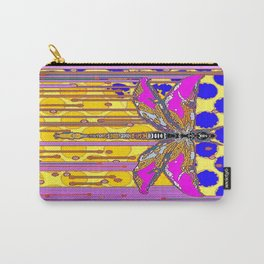 Polka Dragonfly Golden Rain Abstract Carry-All Pouch