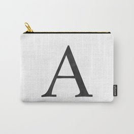 Letter A Initial Monogram Black and White Carry-All Pouch