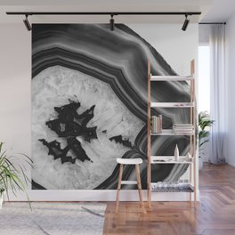 Gray Black White Agate Chic #1 #gem #decor #art #society6 Wall Mural