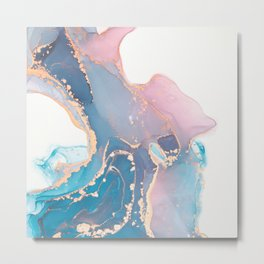 Luxury abstract painted teal, turquoise, pink and white texture with elegant gold veins Metal Print