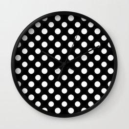 Black and White Polka Dot Pattern Wall Clock