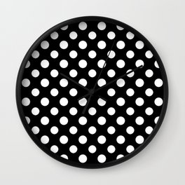 Black and White Polka Dot Pattern Wall Clock