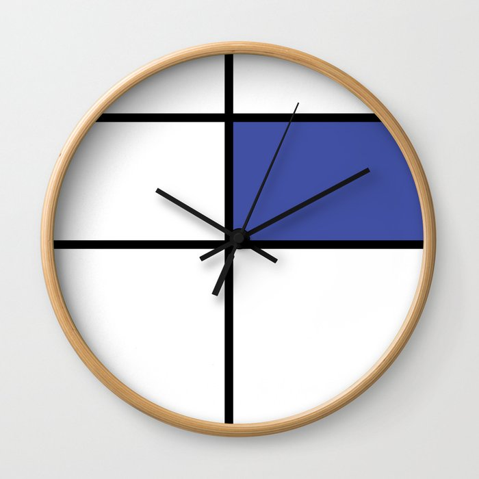 mondrian, piet mondrian, mondrian pattern, mondrian composition, blue, Wall Clock