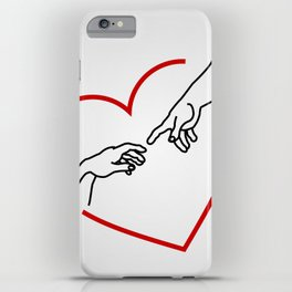 The creation of Adam- The hands of God and Adam within a red heart iPhone Case