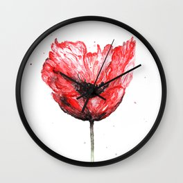 Poppy blooming 2 Wall Clock