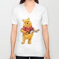 winnie the pooh V-neck T-shirts featuring Winnie the pooh hardcore parody by Jin Ruukyu