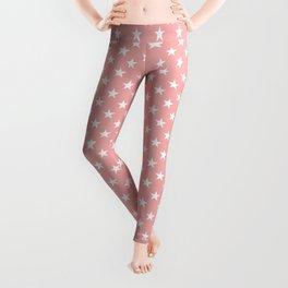 Bright White Stars on Blush Pink Leggings