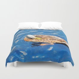 Making Waves While Preening Duvet Cover