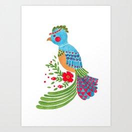 The Blue Quetzal Art Print
