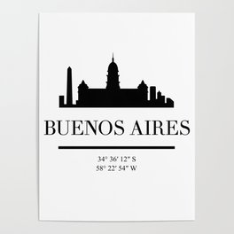BUENOS AIRES ARGENTINA BLACK SILHOUETTE SKYLINE ART Poster