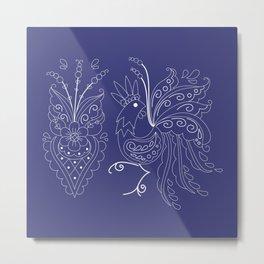 Folklore Rooster - Swedish Folk Art Metal Print