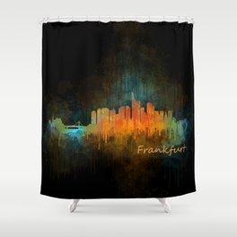 Frankfurt am Main, City Cityscape Skyline watercolor art v4 Shower Curtain