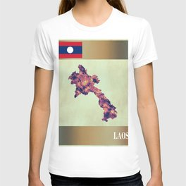 Laos Map with Flag T-shirt
