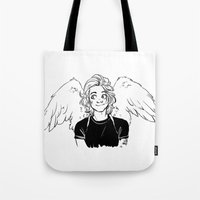 angel wings Tote Bags featuring Wings by kendrawcandraw