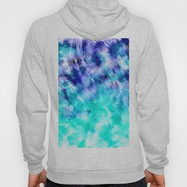 modern boho blue turquoise watercolor mermaid tie dye pattern Hoody