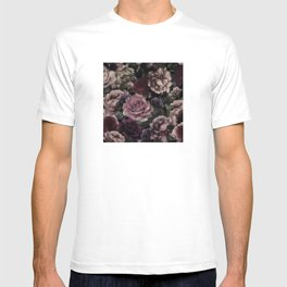 Roses In Burgundy And Pink Vintage Botanical Garden Flowers T-shirt