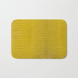 Yellow Alligator Leather Print Bath Mat