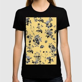 Black and White Floral on Yellow T-shirt