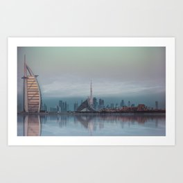 BLUE SKYLINE DUBAI Art Print