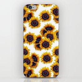Sunflowers yellow white and dark grey pattern iPhone Skin