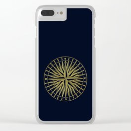 The golden compass- maritime print with gold ornament Clear iPhone Case