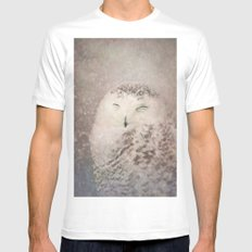 Snowy Owl in the snow MEDIUM Mens Fitted Tee White