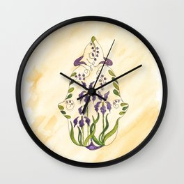 Chamsa with Purple Lilly Detail in Water Color Wall Clock