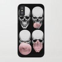 skulls iPhone & iPod Cases featuring Skulls chewing bubblegum by Piotr Burdan