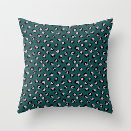 Leopard animal print trend abstract minimal spots panther cat Green Pink Black Throw Pillow