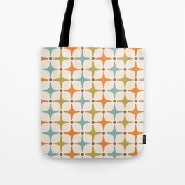 Mid Century Modern Star Pattern 817 Orange Brown Blue and Olive Green Tote Bag