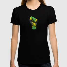 Jamaican Flag on a Raised Clenched Fist T-shirt